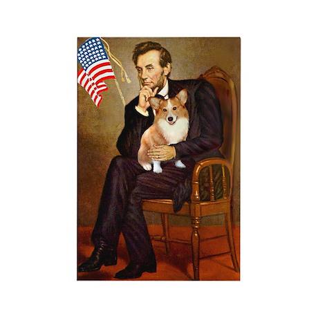Lincoln & His Welsh Corgi Rectangle Magnet