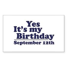 September 12th Birthday Rectangle Decal