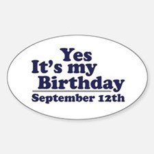 September 12th Birthday Oval Decal