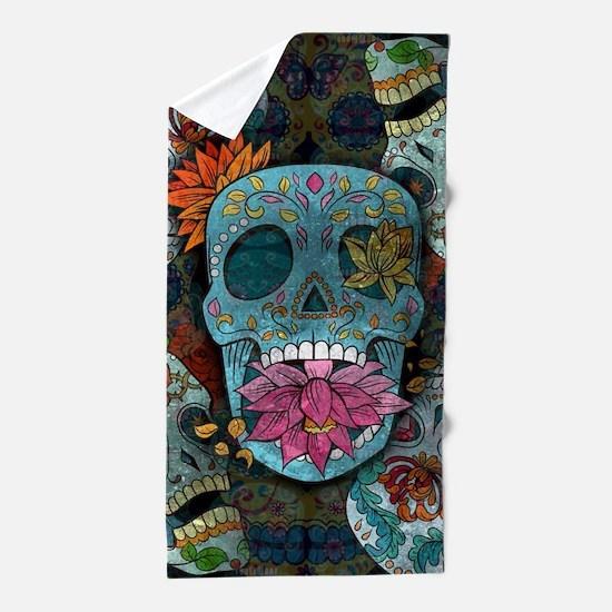 Sugar Skulls Design Beach Towel