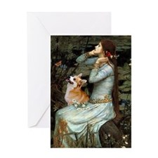 Ophelia with Pembroke Welsh Corgi Greeting Card