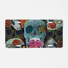 Sugar Skulls Design Aluminum License Plate
