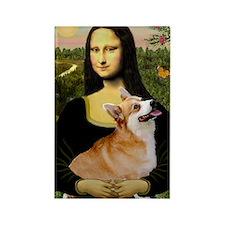 Mona Lisa and Welsh Corgi Rectangle Magnet