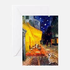 Terrace Cafe + Welsh Corgi Greeting Card