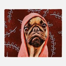 Hood Pug Throw Blanket