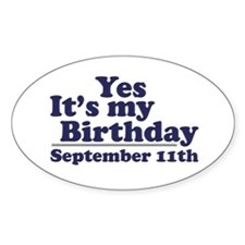 September 11th Birthday Oval Decal