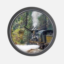 Steam Locomotive in the Forest Wall Clock