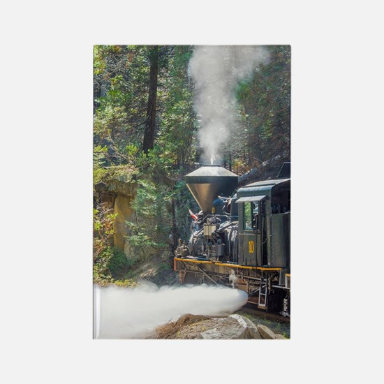 Steam Locomotive in the Forest Rectangle Magnet