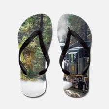 Steam Locomotive in the Forest Flip Flops