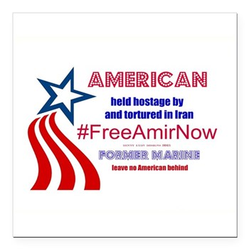 "Free Amir Now 2 Square Car Magnet 3"" X 3"""