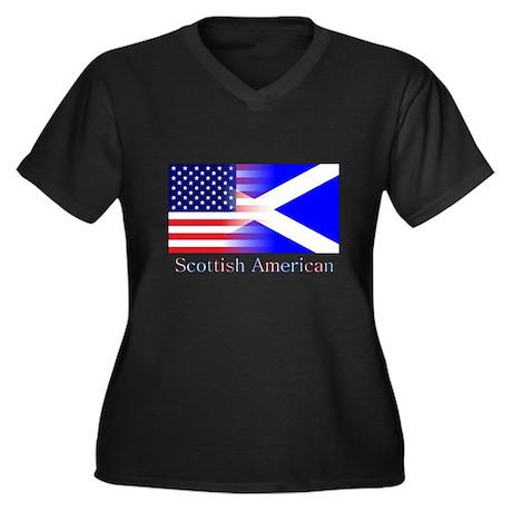 Scottish American Women's Plus Size V-Neck Dark T-