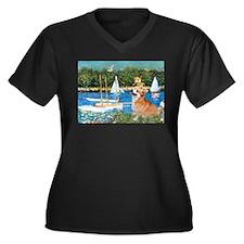 Monet's Sailboats Women's Plus Size V-Neck Dark T-
