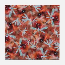 Dragonfly Flit Autumn Haze Tile Coaster