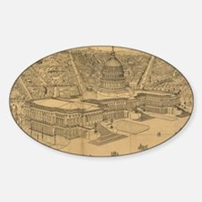 Vintage Pictorial Map of Washington Sticker (Oval)