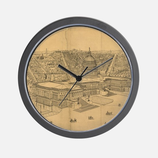 Vintage Pictorial Map of Washington D.C Wall Clock