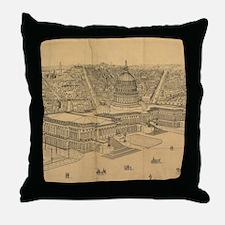 Vintage Pictorial Map of Washington D Throw Pillow