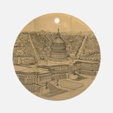 Vintage Pictorial Map of Washington Round Ornament