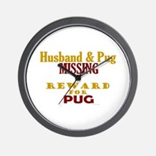 Husband & Pug Missing Wall Clock