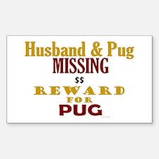 Husband & Pug Missing Rectangle Decal