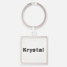 Krystal Wolf Square Keychain