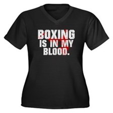 BOXING IS IN MY BLOOD Women's Plus Size V-Neck Dar