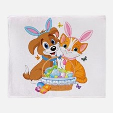 Cute Easter Puppy and Kitten Throw Blanket
