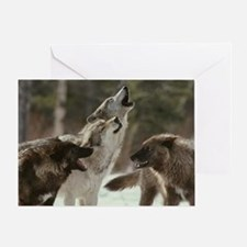 Winter Wolves Howling Greeting Card