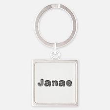 Janae Wolf Square Keychain