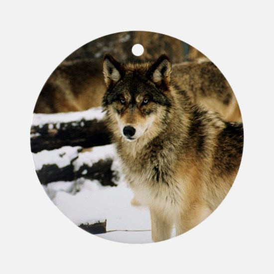 Wolves in The Snow Round Ornament