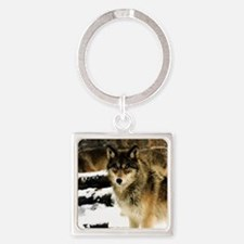 Wolves in The Snow Square Keychain