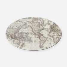 Vintage World Telegraph Lines Map  Oval Car Magnet