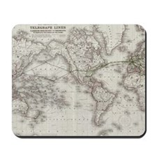 Vintage World Telegraph Lines Map (1855) Mousepad