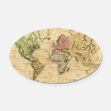 Vintage Map of The World (1831)  Oval Car Magnet