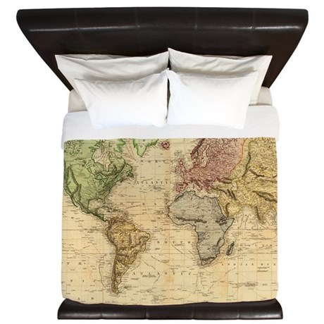 Vintage Map Of The World 1831 King Duvet By Listing