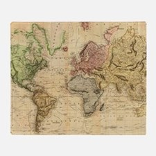 Vintage Map of The World (1831)  Throw Blanket