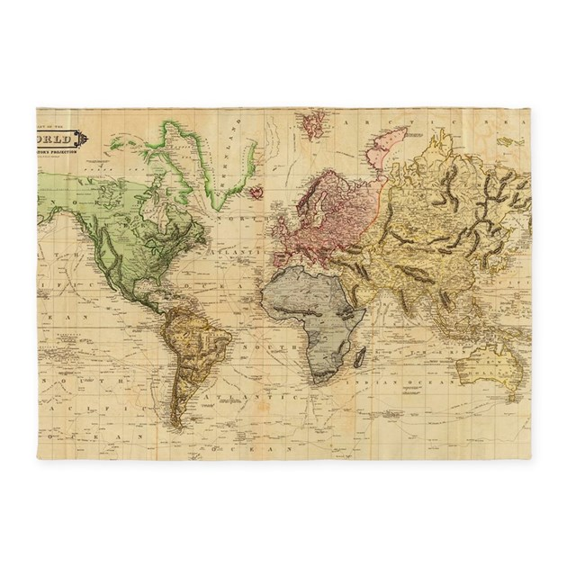 World Map Baby Rug: Vintage Map Of The World (1831) 5'x7'Area Rug By Listing