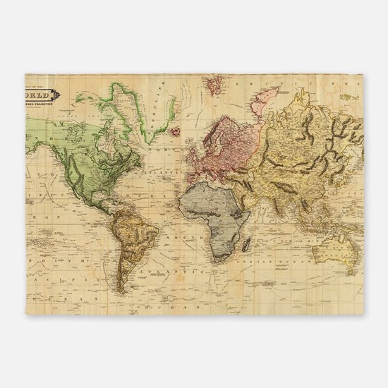 Vintage Map of The World (1831)  5'x7'Area Rug