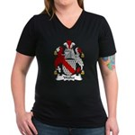 Walles Family Crest Women's V-Neck Dark T-Shirt