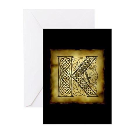 Celtic Letter K Greeting Cards (Pk of 20)