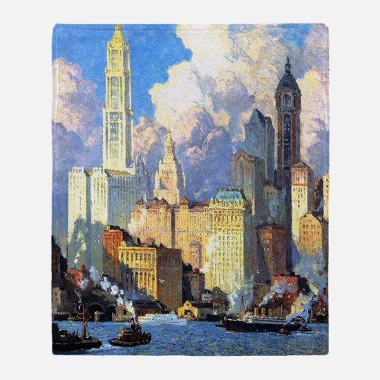 Hudson River Waterfront - Colin Camp Throw Blanket