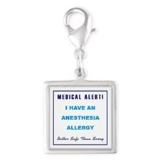 ANESTHESIA ALLERGY Silver Square Charm