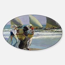 The Three Sails - Joaquin Sorolla Sticker (Oval)
