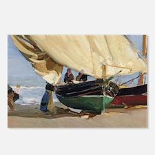 Fishermen Beached Boat, V Postcards (Package of 8)