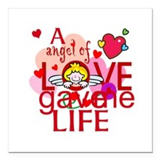 """Angel Of Love Square Car Magnet 3"""" x 3"""""""