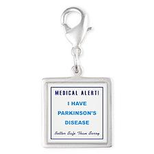 PARKINSON'S DISEASE Silver Square Charm