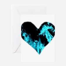 Blue Heart 'a Flame Greeting Cards