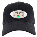 WILL WORK FOR COFFEE Black Cap