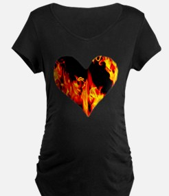 Red Yellow Orange Heart 'a Flame Maternity T-Shirt