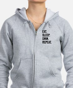 Eat Sleep Swim Repeat Zip Hoodie