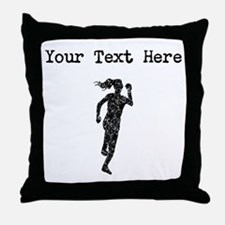 Distressed Runner Silhouette (Custom) Throw Pillow